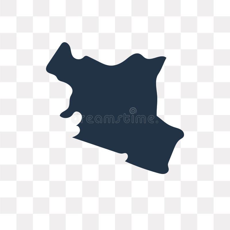 De kaart vectordiepictogram van Kenia op transparante achtergrond, Kenia wordt geïsoleerd stock illustratie