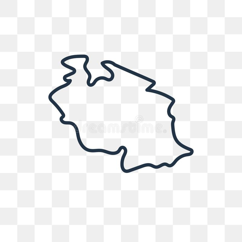 De kaart vectordiepictogram van Tanzania op transparante achtergrond wordt geïsoleerd, lin royalty-vrije illustratie
