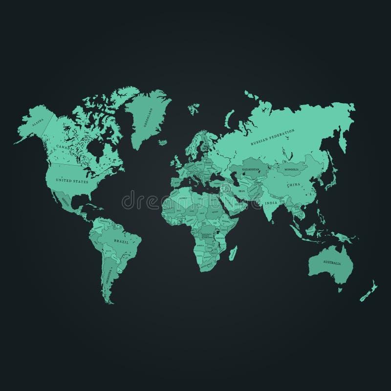 De kaart vectorillustratie van de wereld E royalty-vrije illustratie