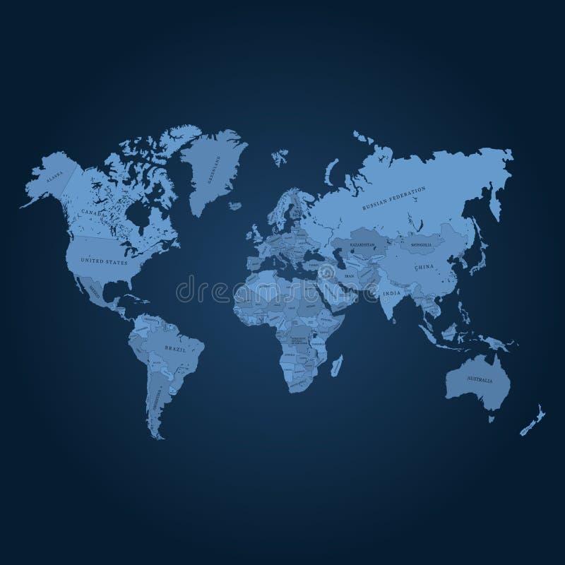De kaart vectorillustratie van de wereld Kwaliteitskaart voor knipsel of gravure stock illustratie