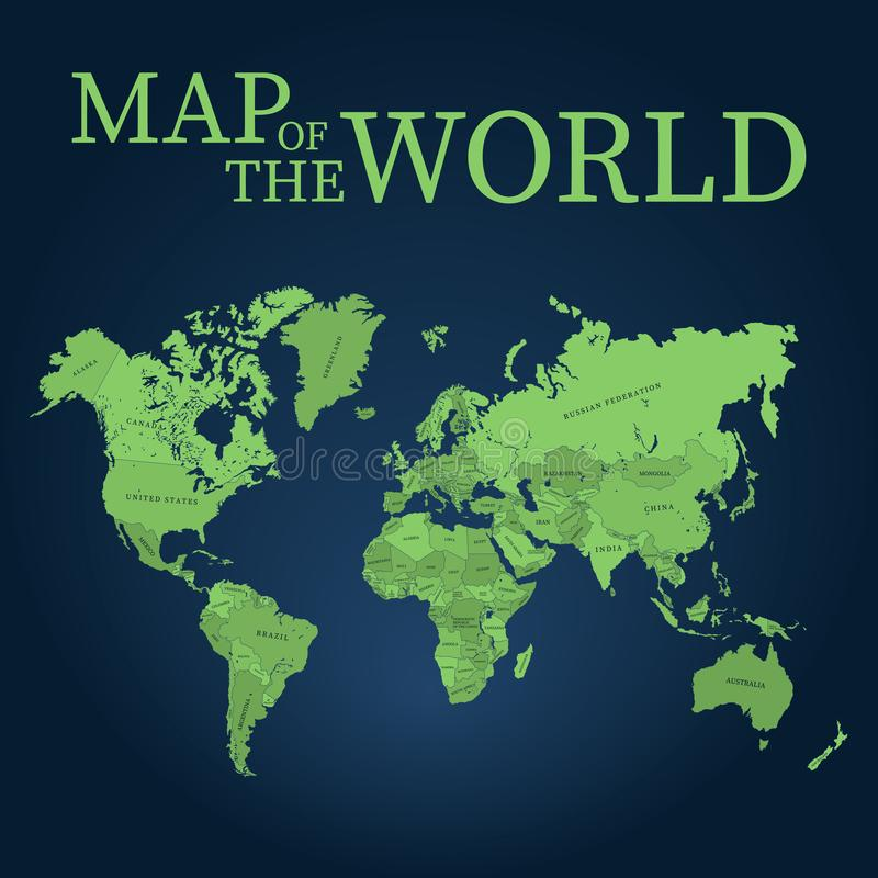 De kaart vectorillustratie van de wereld Kwaliteitskaart voor knipsel of gravure royalty-vrije illustratie