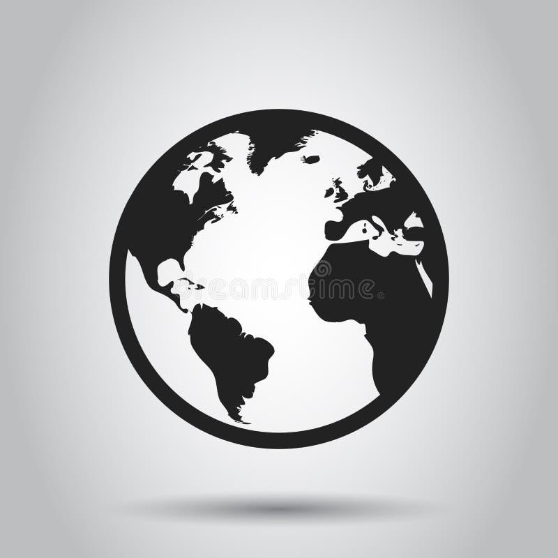De kaart vectorpictogram van de bolwereld Ronde aarde vlakke vectorillustratio stock illustratie