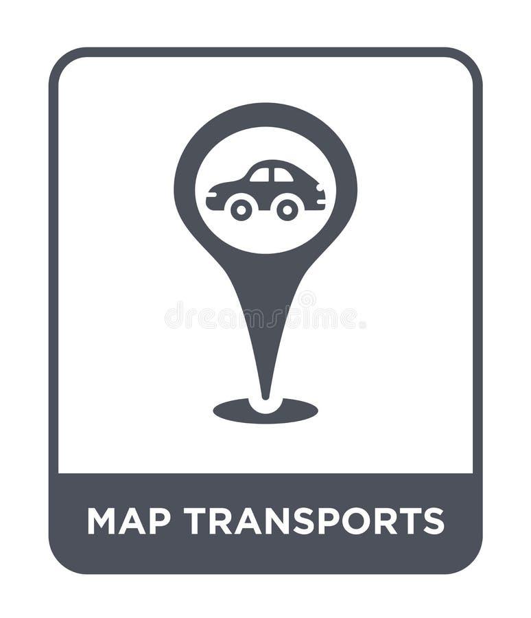 de kaart vervoerden pictogram in in ontwerpstijl de kaart vervoerden pictogram op witte achtergrond wordt geïsoleerd die kaarttra stock illustratie