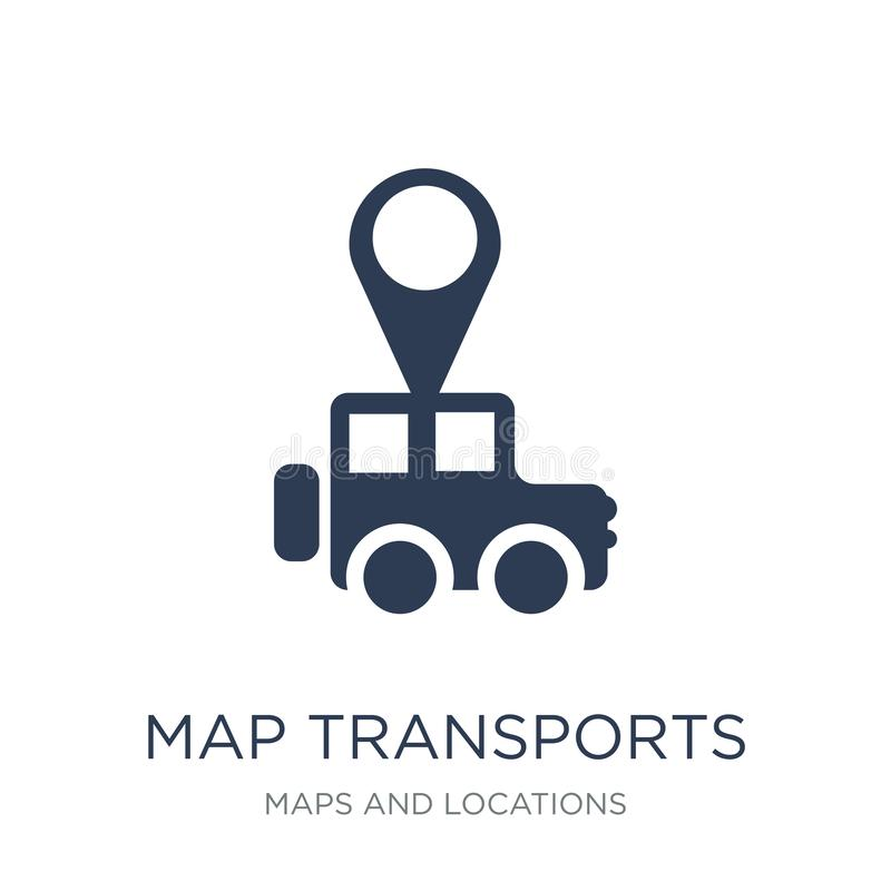 De kaart vervoerden pictogram De in vlakke vectorkaart vervoerden pictogram op w vector illustratie