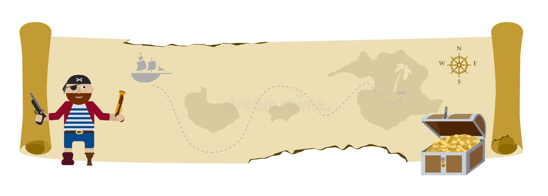 De kaart vlakke vectorachtergrond van de schatpiraat royalty-vrije illustratie