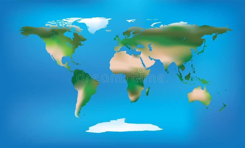 De kaart volledige kleur van de wereld en gedetailleerd landtype royalty-vrije illustratie