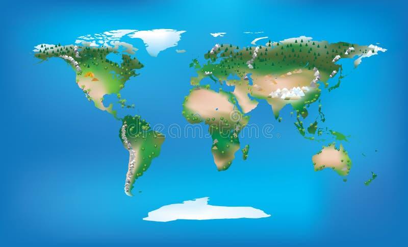 De kaart volledige kleur van de wereld en gedetailleerd landtype stock illustratie