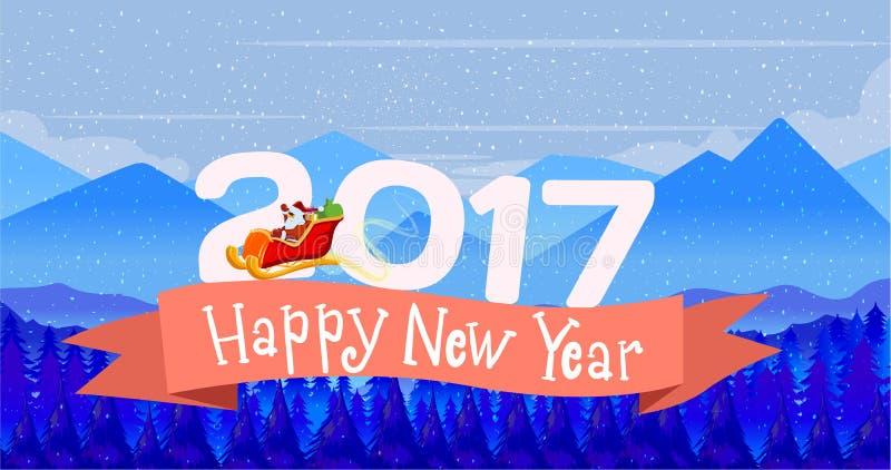 De kaart Vrolijke Kerstmis van het afficheontwerp en een Gelukkig Nieuwjaar met 3D teksten van het de winterlandschap in 2016 De  royalty-vrije illustratie