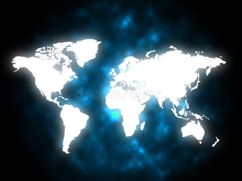 De kaartachtergrond betekent Aardeaardrijkskunde en Continenten vector illustratie