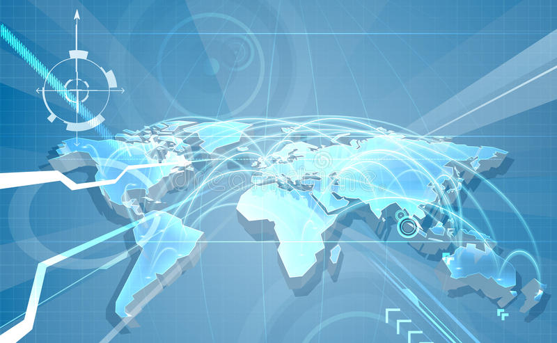 De Kaartachtergrond van de Wereldhandelglobalisering royalty-vrije illustratie