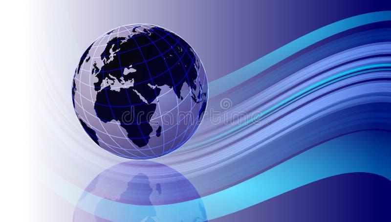 De kaartachtergrond van de wereld Een wereldbol op blauwe golvende achtergrond royalty-vrije illustratie