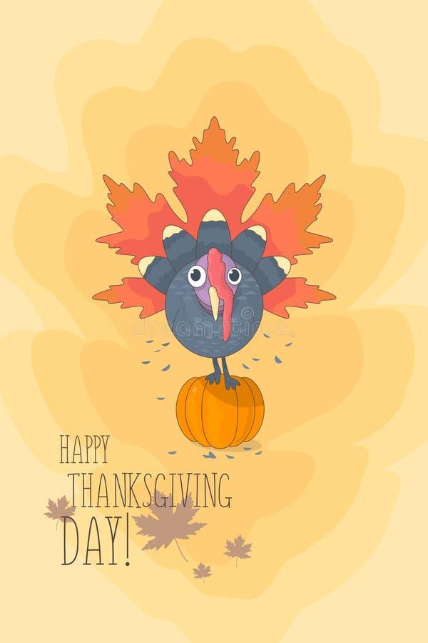 De kaartbanner van de thanksgiving day kleurrijke groet met een beeld van een zitting van Turkije op een pompoen royalty-vrije illustratie