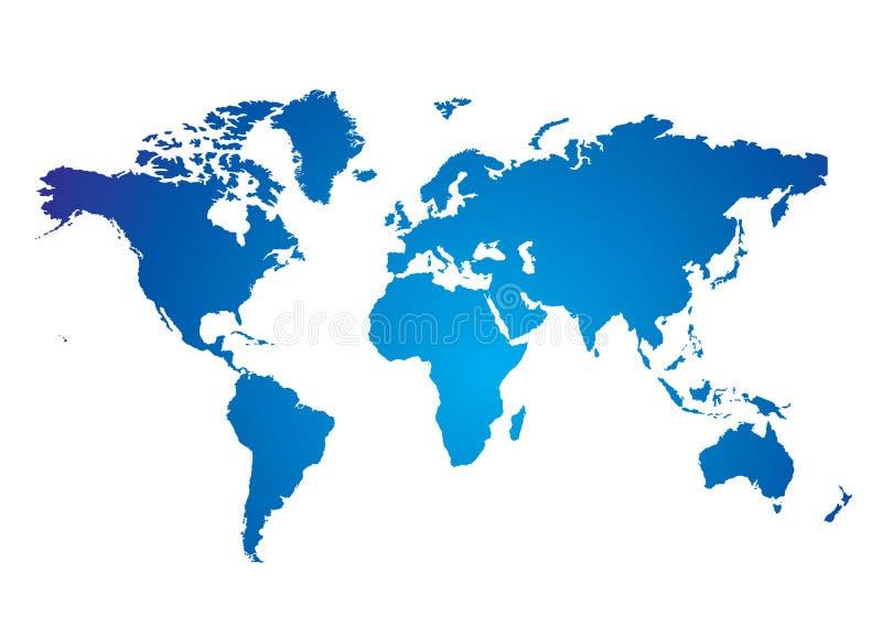 De kaartblauw van de wereld vector illustratie