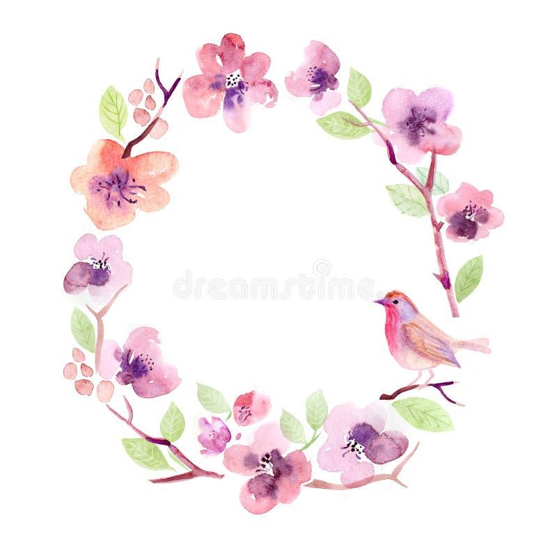 De kaartbloemen van de waterverfgroet handmade Gelukwensenachtergrond De kaart van bloemen vector illustratie
