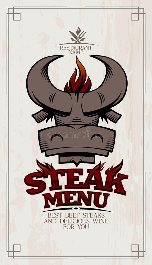 De kaartdekking van het lapje vleesmenu met stierenhoofd en BBQ vlam vector illustratie