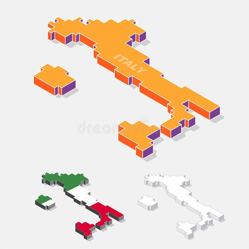 De kaartelement van Italië met 3D isometrische die vorm op achtergrond wordt geïsoleerd royalty-vrije illustratie