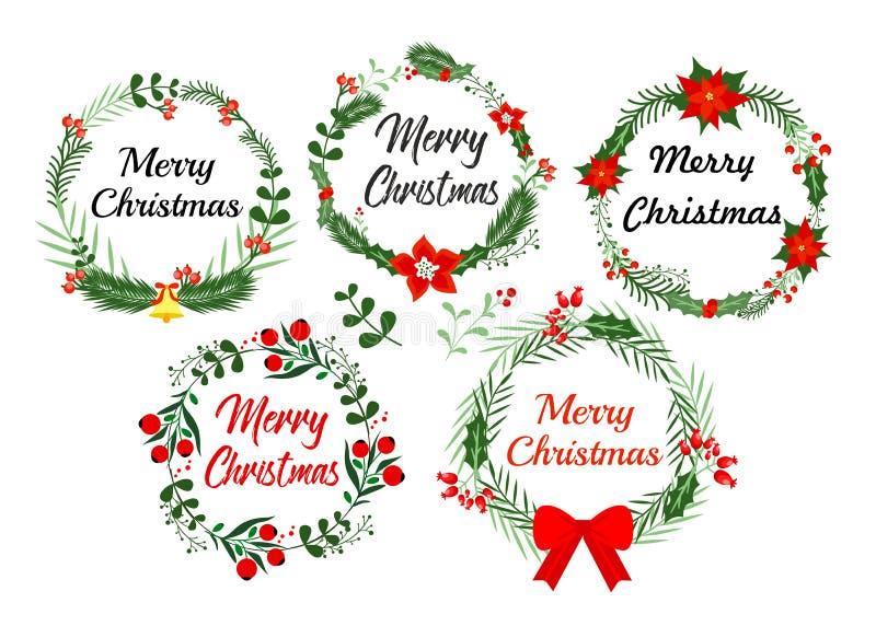 De kaartelementen van de nieuwjaargroet Kerstmiskroon met de winter wordt geplaatst bloemendie Vectorillustratie in vlakke stijl vector illustratie