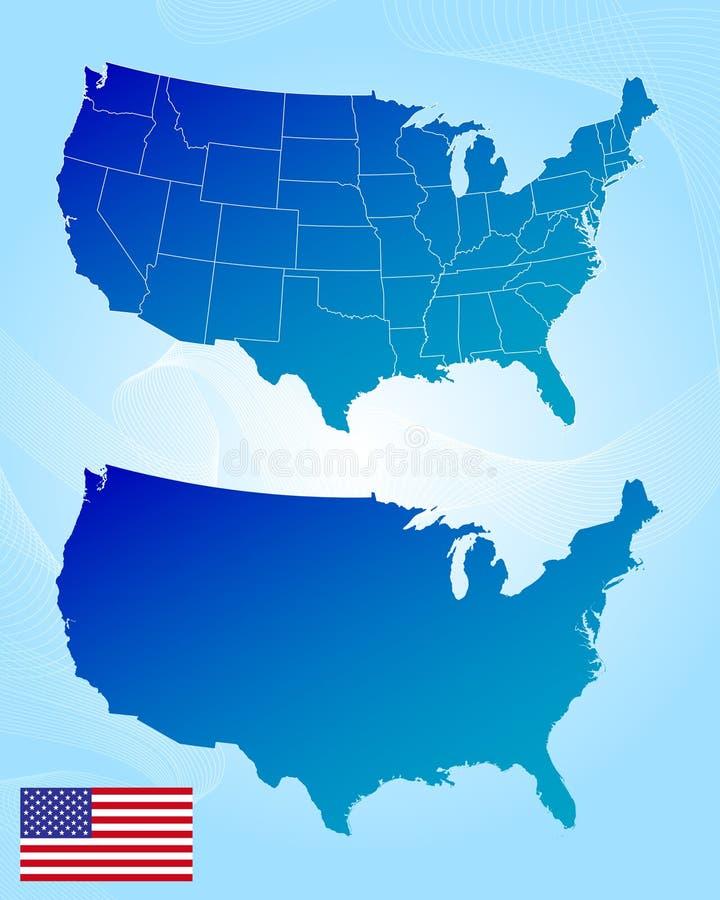 De kaarten en de vlag van Amerika vector illustratie