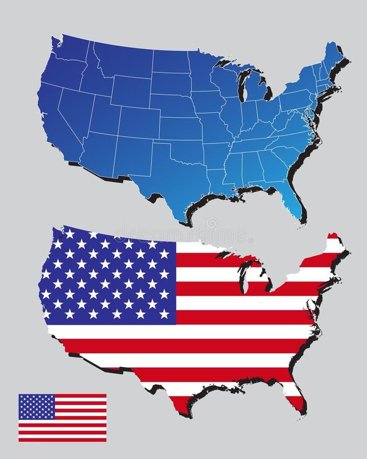 De kaarten en de vlag van Amerika stock illustratie