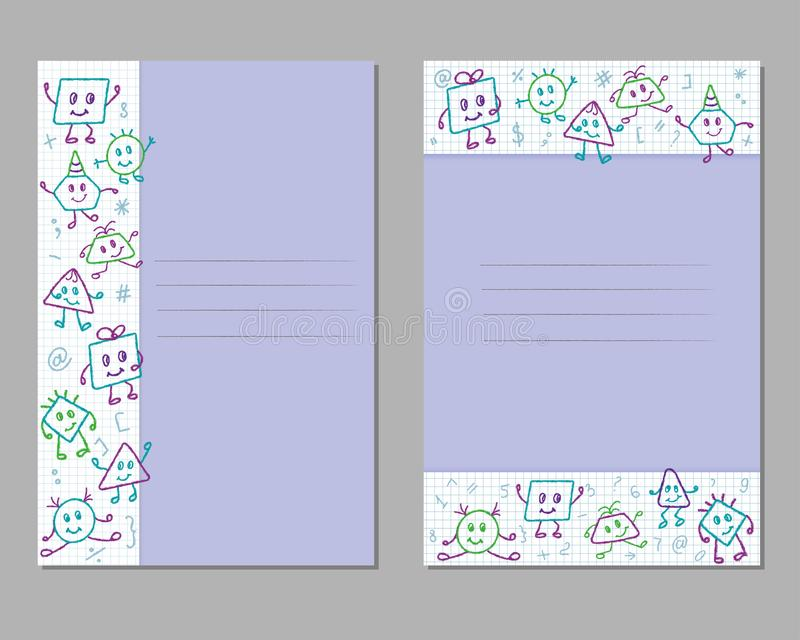 De kaarten met het potloodtekeningen van kinderen op een geruit blad, monsters, emoties, stelt royalty-vrije illustratie