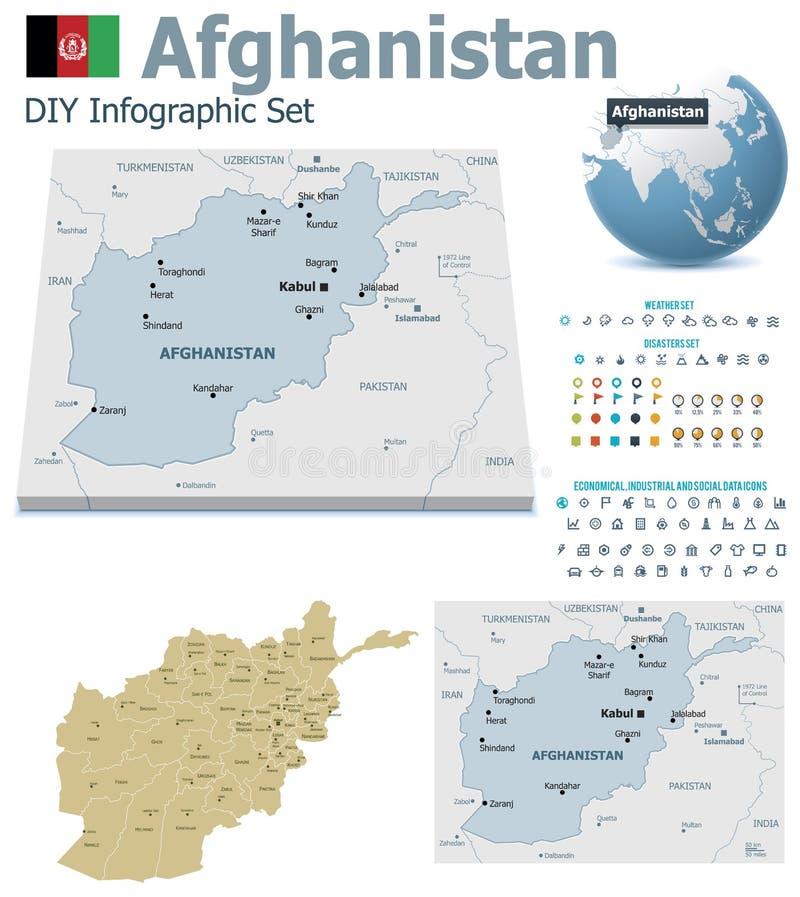 De kaarten van Afghanistan met tellers stock illustratie