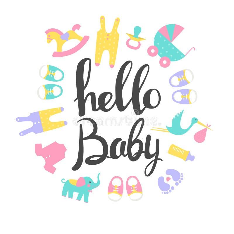 De Kaarten van de babydouche Hello baby royalty-vrije illustratie
