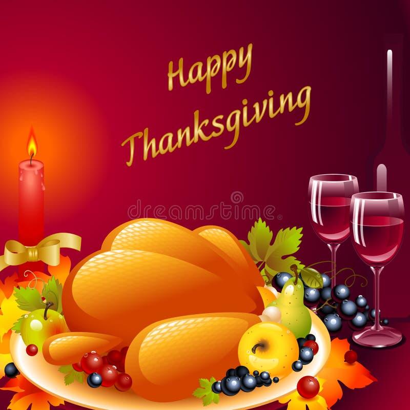 De kaarten van de dankzegging. achtergrond met Turkije vector illustratie