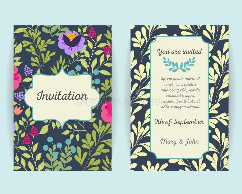 De kaarten van de huwelijksuitnodiging met bloemen, bessen en bladeren Het gebruik voor Instapkaart, uitnodigingen, dankt u kaard royalty-vrije illustratie