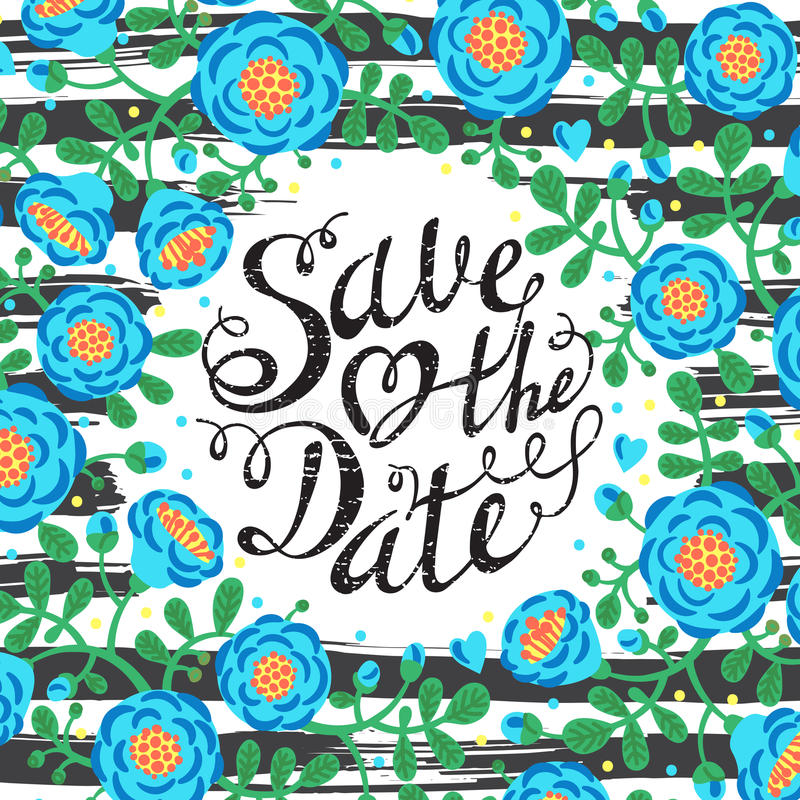 De kaarten van de huwelijksuitnodiging met bloemen en royalty-vrije illustratie
