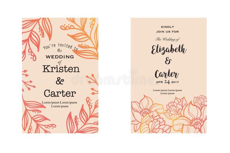 De kaarten van de huwelijksuitnodiging met rode elegante bloemenelementen De kaart van de groet stock illustratie