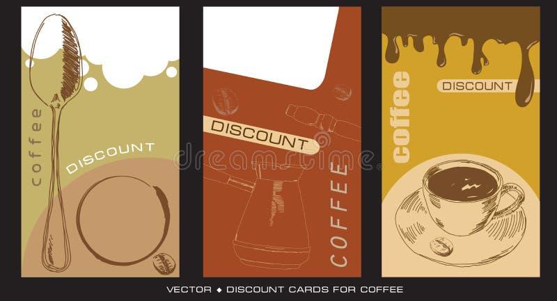 De kaarten van de korting voor caffee stock illustratie