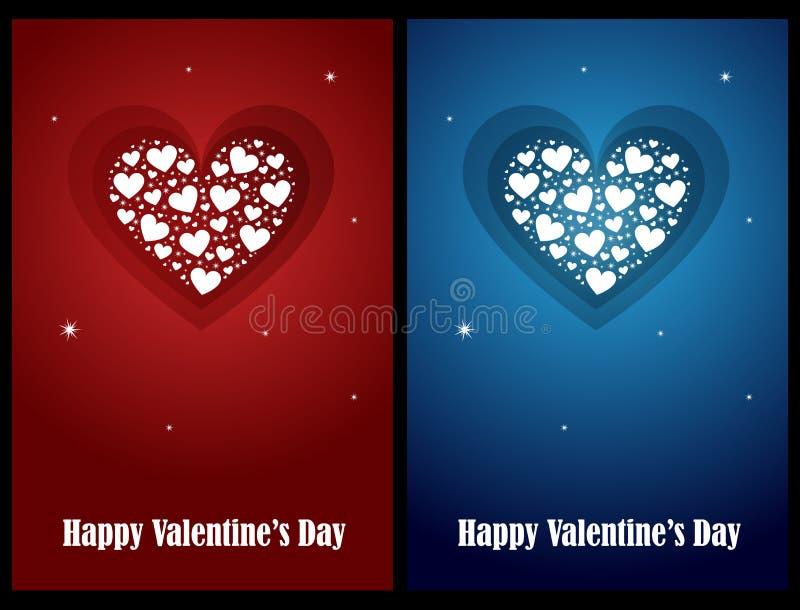 De kaarten van de valentijnskaart vector illustratie