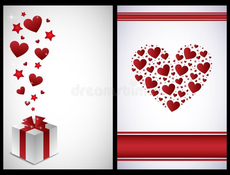 De kaarten van de valentijnskaart stock illustratie