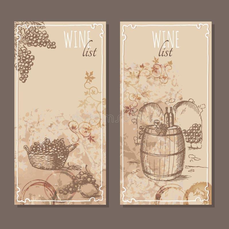 De kaarten van de wijnlijst De schets van menukaarten stock illustratie