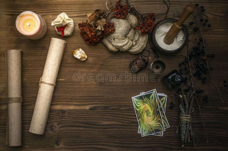 De kaarten van het tarot Fortuinteller divination Medicijnman royalty-vrije stock foto's