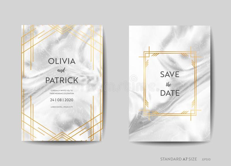 De Kaarten van de huwelijksuitnodiging, Art Deco Style Save de Datum met in marmeren textuurachtergrond en gouden geometrisch kad royalty-vrije illustratie
