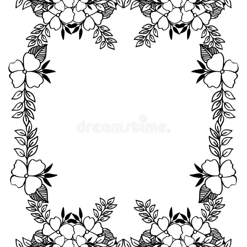 De kaarten van de huwelijksuitnodiging, met ontwerp elegant bloemenkader Vector stock illustratie