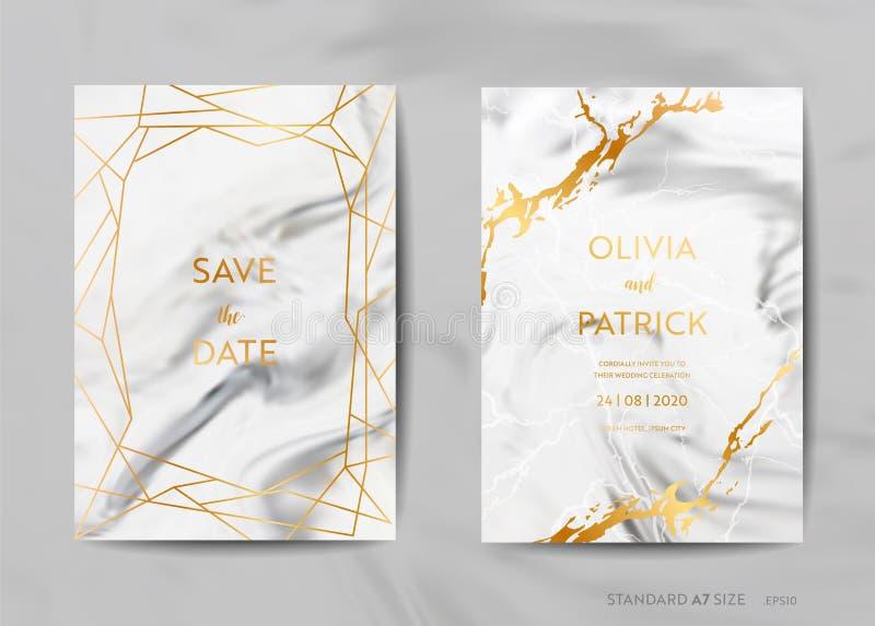 De Kaarten van de huwelijksuitnodiging, sparen de Datum met in marmeren textuurachtergrond en gouden geometrisch kaderontwerp royalty-vrije illustratie
