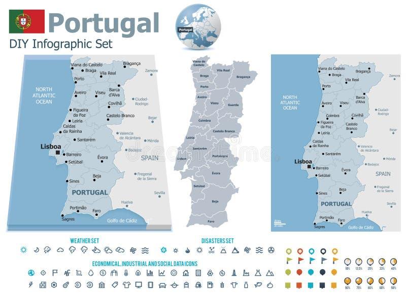 De kaarten van Portugal met tellers royalty-vrije illustratie
