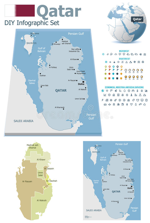 De kaarten van Qatar met tellers vector illustratie