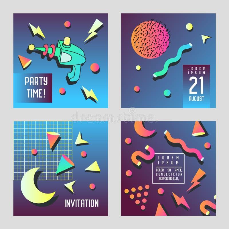 De Kaarten van de uitnodigingsgelukwens Geplaatst de Stijl van Memphis De ruimtemalplaatjes van de de Bannervlieger van de Thema  stock illustratie