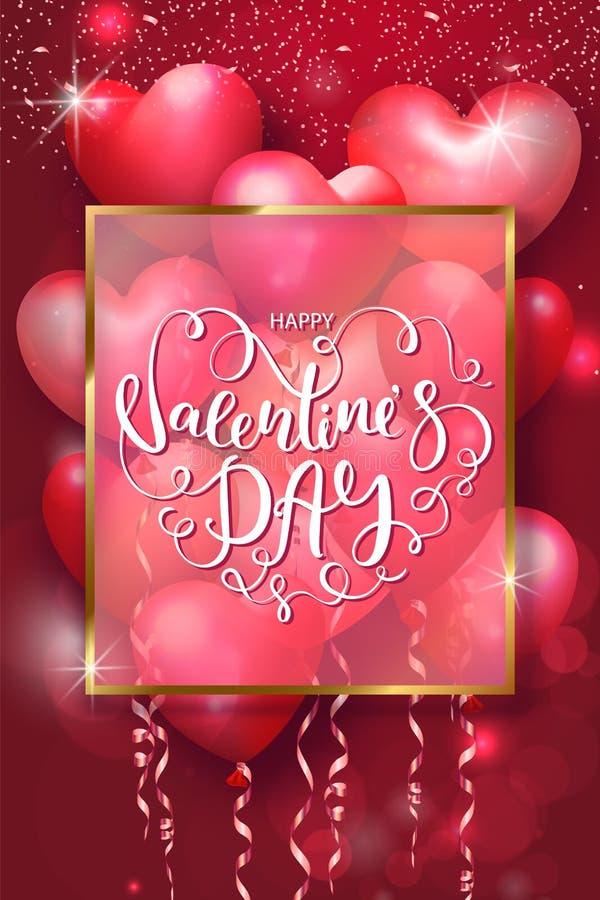 De kaarten van de valentijnskaartendag met hart gaven luchtballons, gouden kader en het mooie Van letters voorzien gestalte Vecto royalty-vrije illustratie