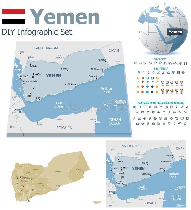 De kaarten van Yemen met tellers royalty-vrije illustratie