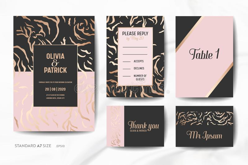 De kaarteninzameling van de huwelijksuitnodiging Sparen de Datum, ondertekent RSVP, met de in Dierlijke achtergrond van de Huid g stock illustratie