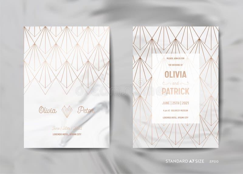 De kaarteninzameling van de huwelijksuitnodiging Sparen de Datum, RSVP met gouden geometrisch art deco in marmeren textuur als ac stock illustratie