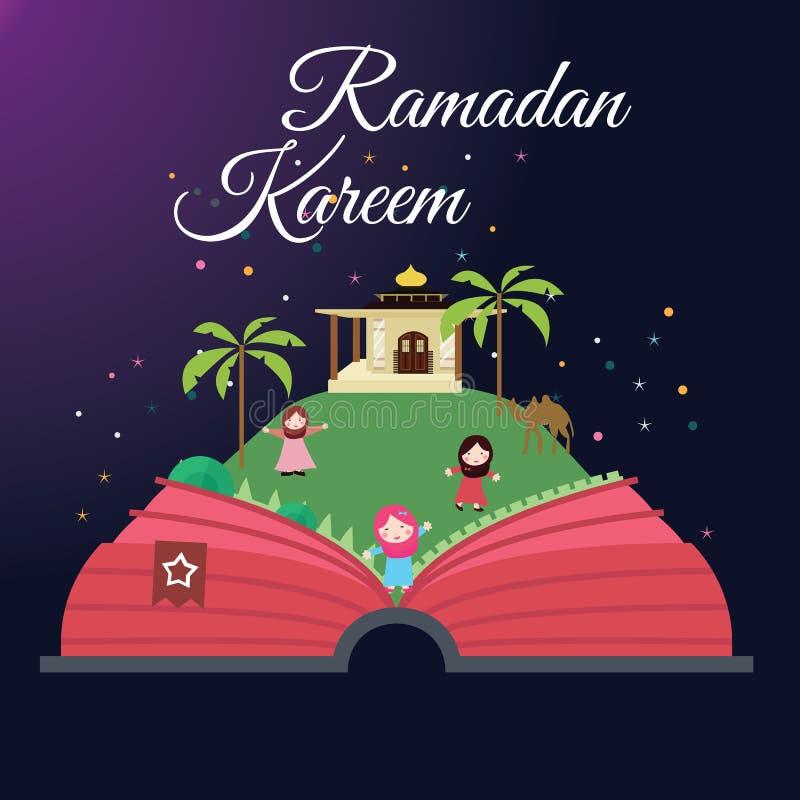 De kaartenjonge geitjes en moskee van de Ramadangroet met sterrige de vieringsmaand van de nachtislam stock illustratie