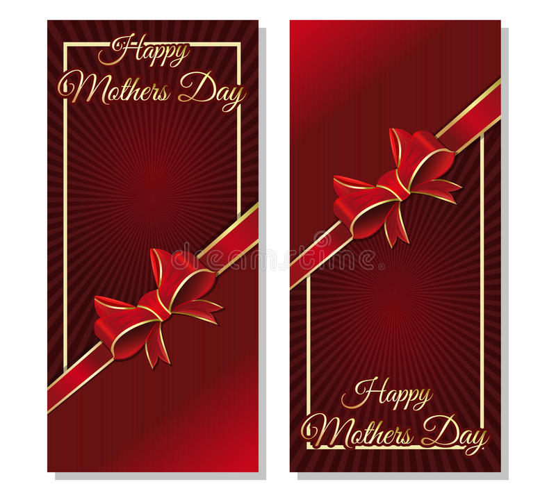 De kaartenmalplaatje van de moedersdag met een lint en een boog vector illustratie