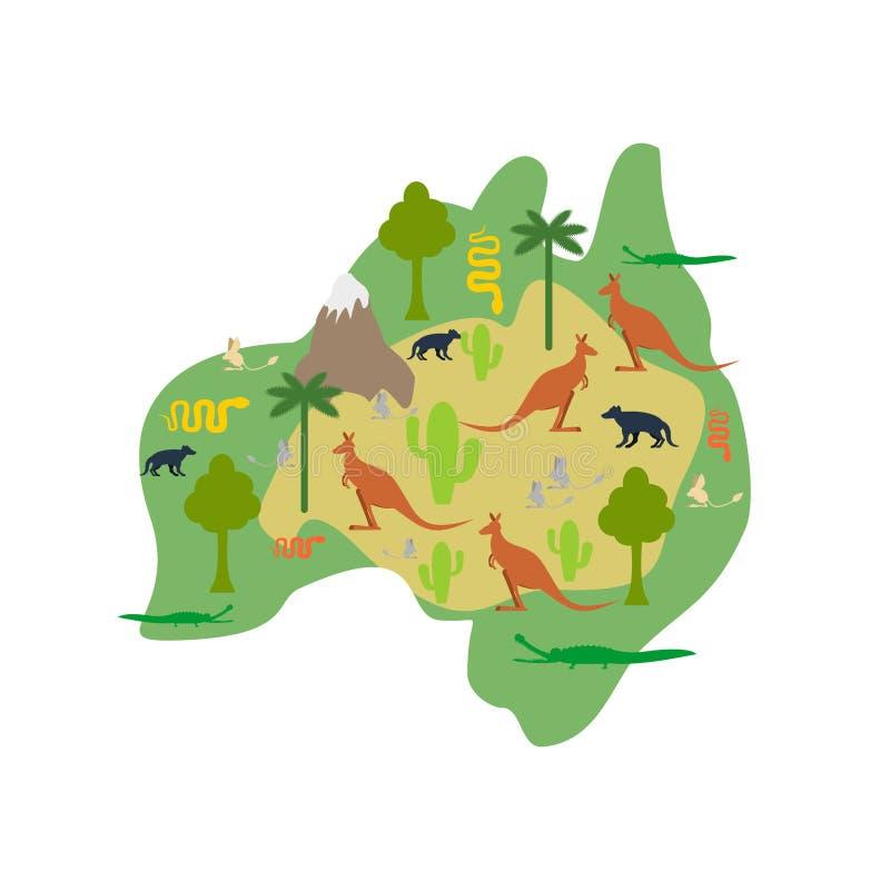 De kaartflora en fauna van Australië Dieren en planten op vasteland V vector illustratie