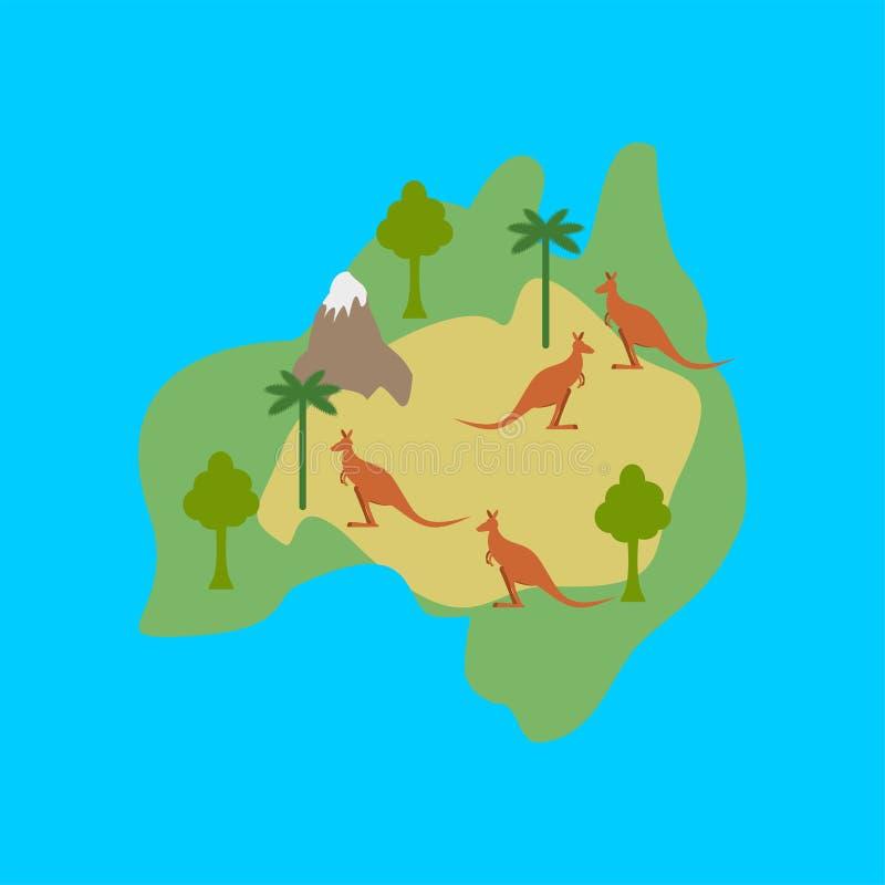 De kaartflora en fauna van Australië Dieren en planten op vasteland V stock illustratie