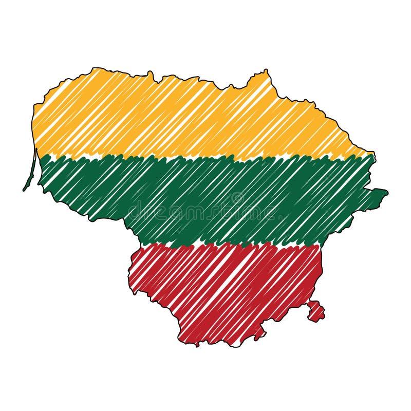 De kaarthand getrokken schets van Litouwen De vectorvlag van de conceptenillustratie, de tekening van kinderen, gekrabbelkaart De royalty-vrije illustratie